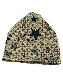 Green Cotton Stretch Colorful Printed Women Beanie Hat