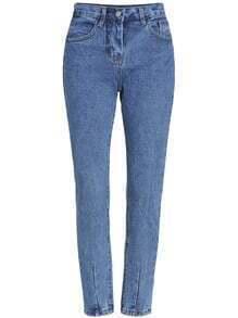 pantalon en denim design simple -bleu