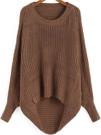 Brown Round Neck Dip Hem Knit Sweater