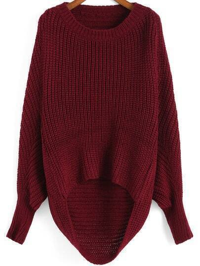 Red Round Neck Dip Hem Knit Sweater