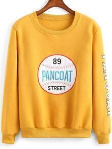 Yellow Round Neck Baseball Embroidered Sweatshirt