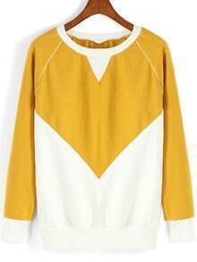 Colour-block Round Neck Loose Sweatshirt