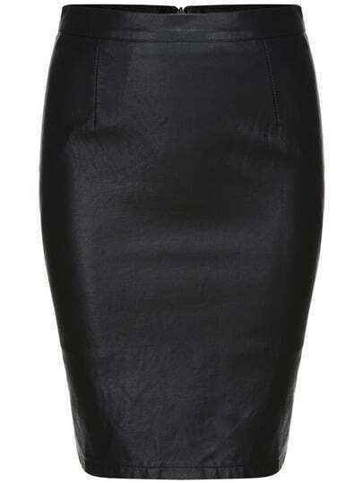 Black Split Slim PU Skirt