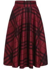Red Black Plaid Midi Skirt