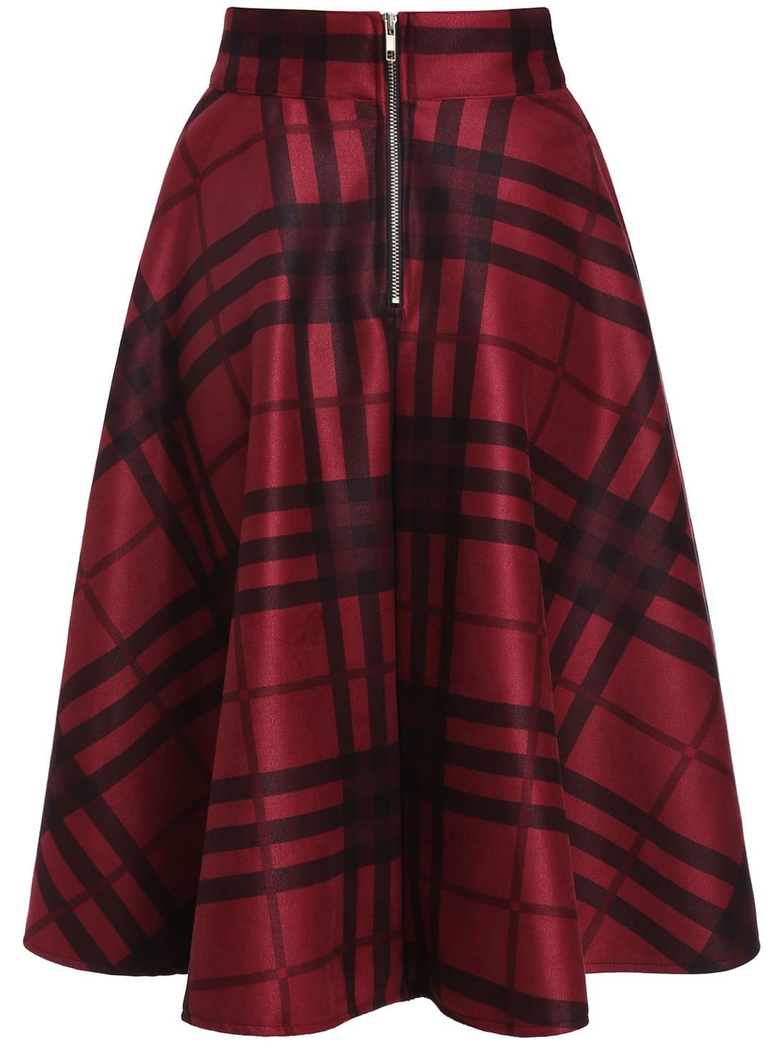 black plaid midi skirt shein sheinside