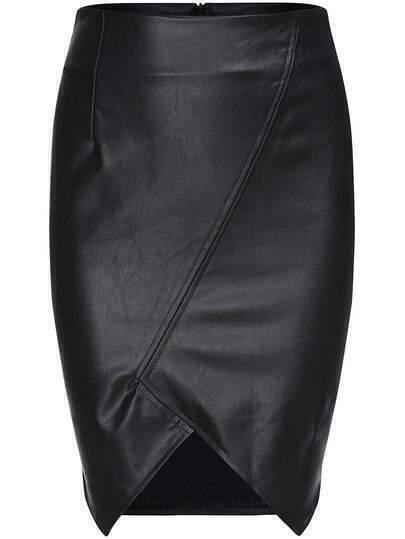 Black Slim Bodycon Asymmetrical PU Skirt