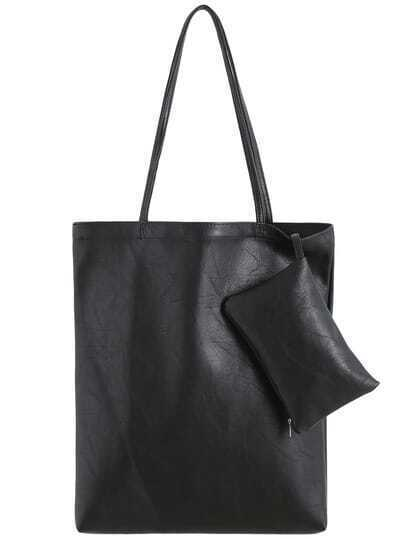 Black PU Shopping Tote Bag With Coin Purse