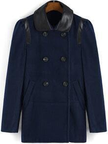 Navy Contrast PU Leather Collar Double Breasted Coat