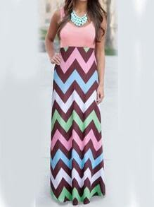Multicolor Scoop Neck Striped Maxi Dress