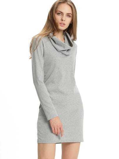 Grey Draped Neck Slim Cowlneck Bodycon Dress