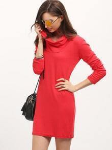 Red Draped Neck Slim Cowlneck Bodycon Dress