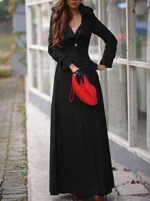 Black Lapel Single Button Woolen Trench Coat