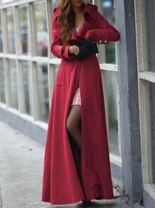 Red Lapel Single Button Woolen Trench Coat