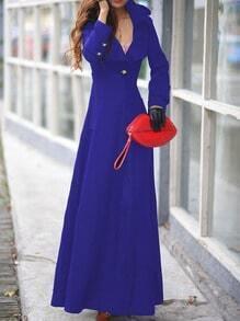 Blue Lapel Single Button Woolen Trench Coat