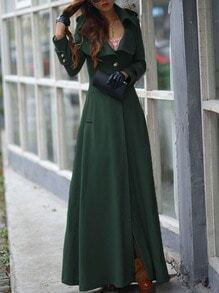 Green Lapel Single Button Woolen Trench Coat
