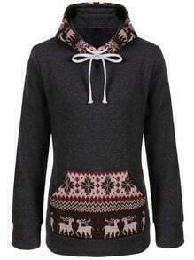 Grey Hooded Snowflake Deer Pattern Sweatshirt