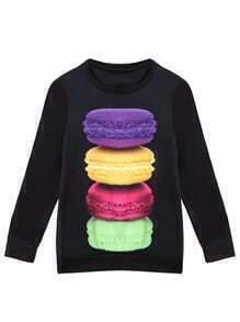 Multicolor Round Neck Hamburgers Print Sweatshirt