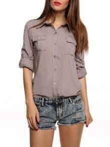 Solid Lapel Long Sleeve Pockets Blouse
