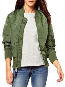 Army Green Long Sleeve Zipper Loose Jacket