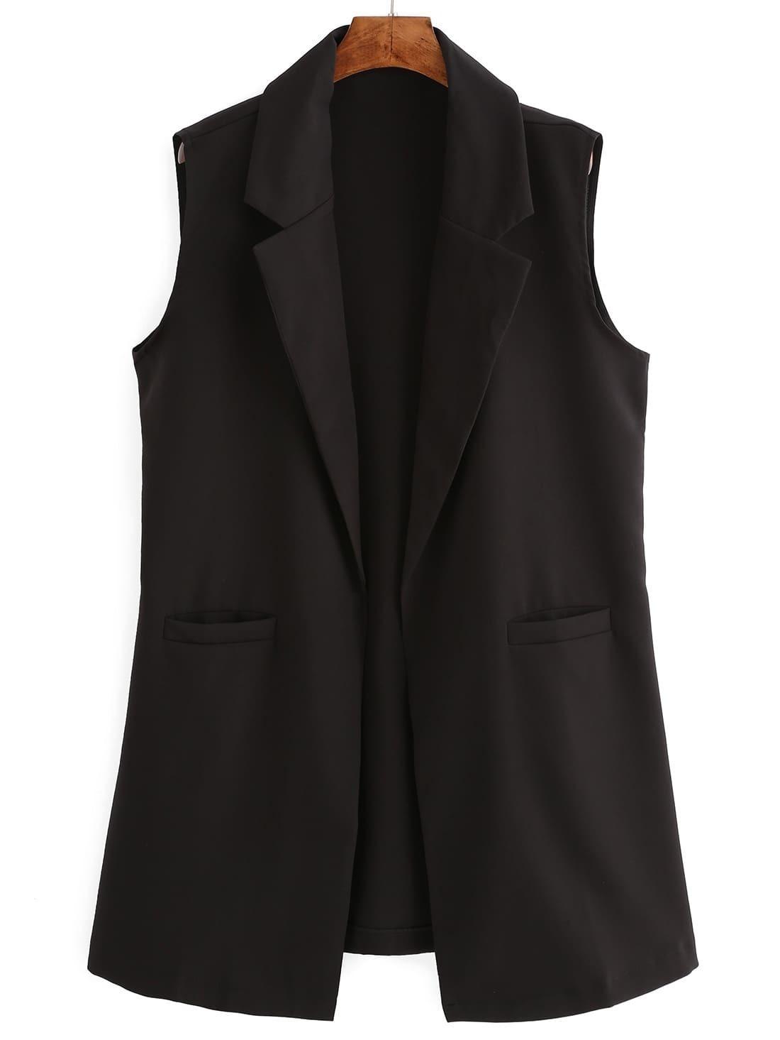 Black Notch Lapel Sleeveless Fitted Blazer