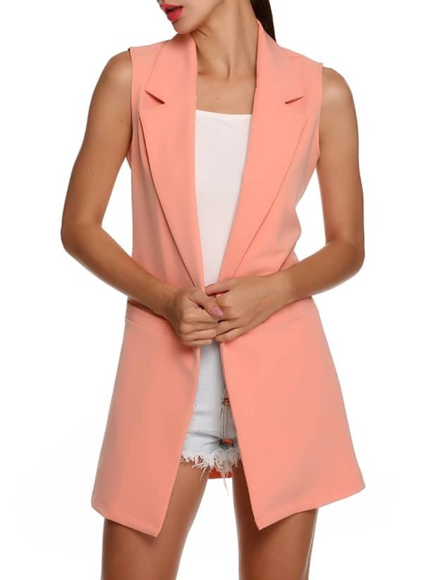 Pink Notch Lapel Sleeveless Fitted Blazer