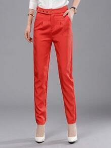 Red Slim Buttons Casual Pant