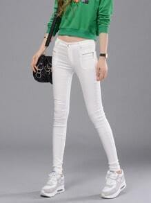 White Skinny Zipper Pockets Pant