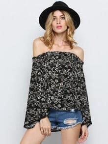 Black Long Sleeve Off The Shoulder Floral Blouse