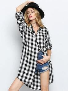 Black White Lapel Plaid Blouse