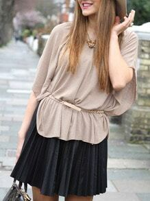 Apricot Batwing Sleeve Round Neck Blouse