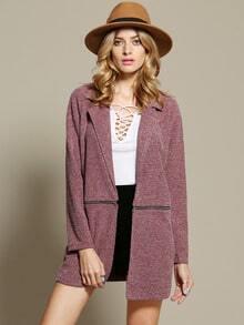 Purple Long Sleeve Lapel Zipper Coat