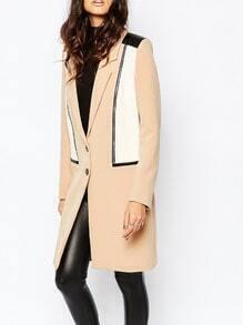 Apricot Long Sleeve Lapel Coat