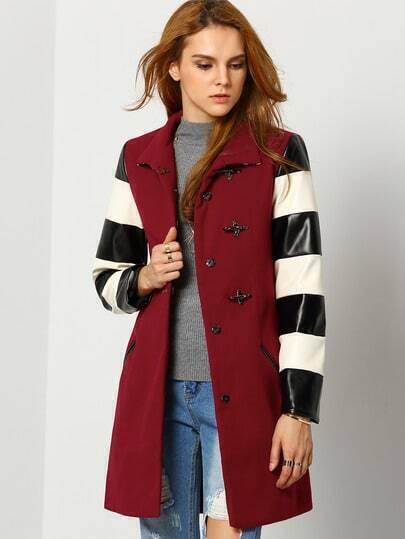 Wine Red Lapel Color Block Coat pictures