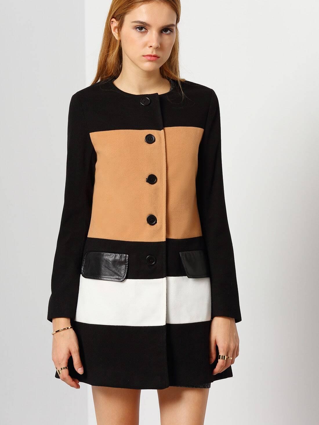 Black Camel Long Sleeve Color Block Coat