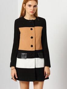 Black Camel Long Sleeve Color Block Coat