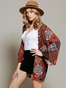 Brown Long Sleeve Vintage Print Tassel Kimono