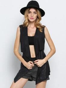 Black Sleeveless Lapel Vest