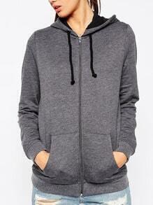 Grey Hooded Long Sleeve Jackets