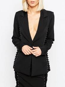 Black Long Sleeve Lapel Blazer