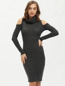 Grey Long Sleeve Cowlneck Turtleneck Cut Out Dress