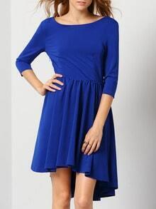 Blue Round Neck Pleated Dress