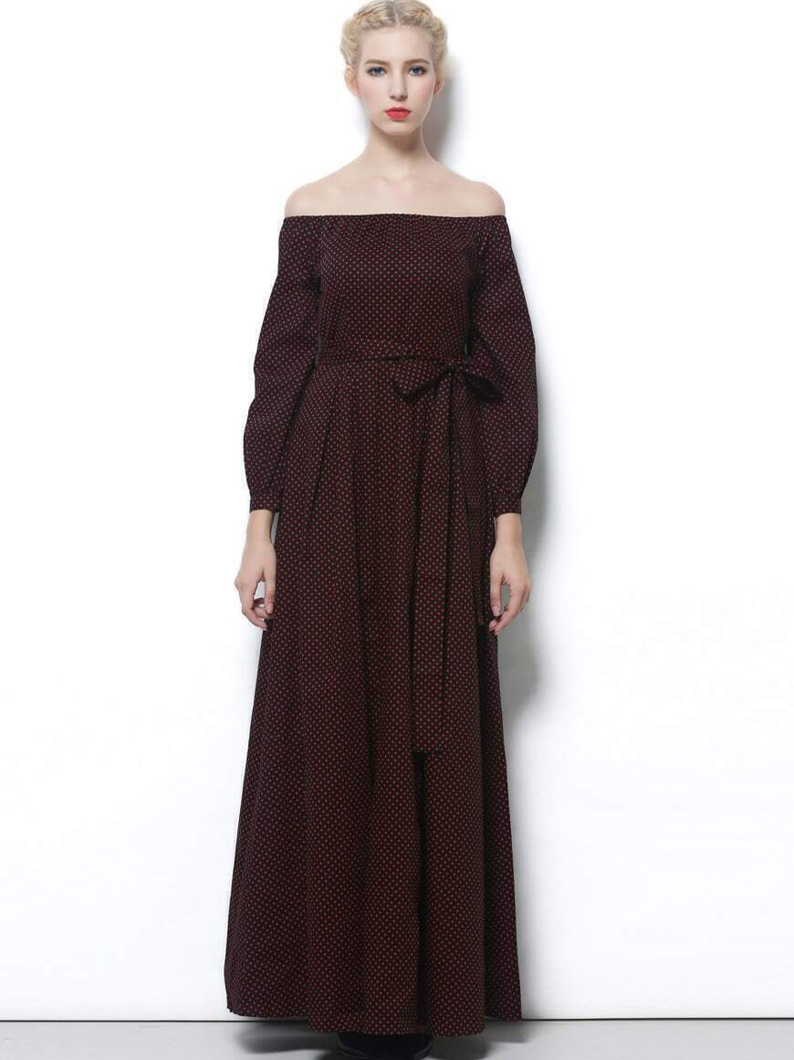 Wine Red Off The Shoulder Long Sleeve Tie-Waist Dress