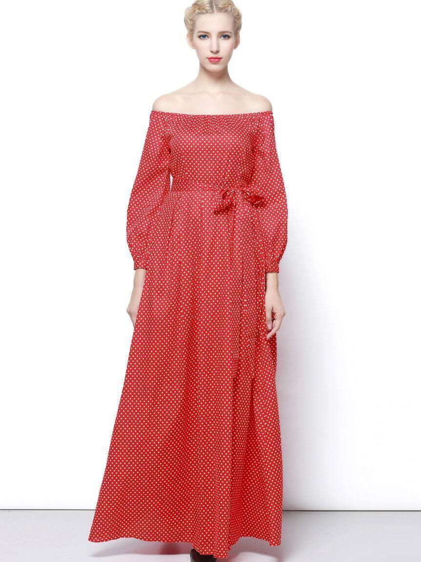 Red Off The Shoulder Long Sleeve Tie-Waist Dress
