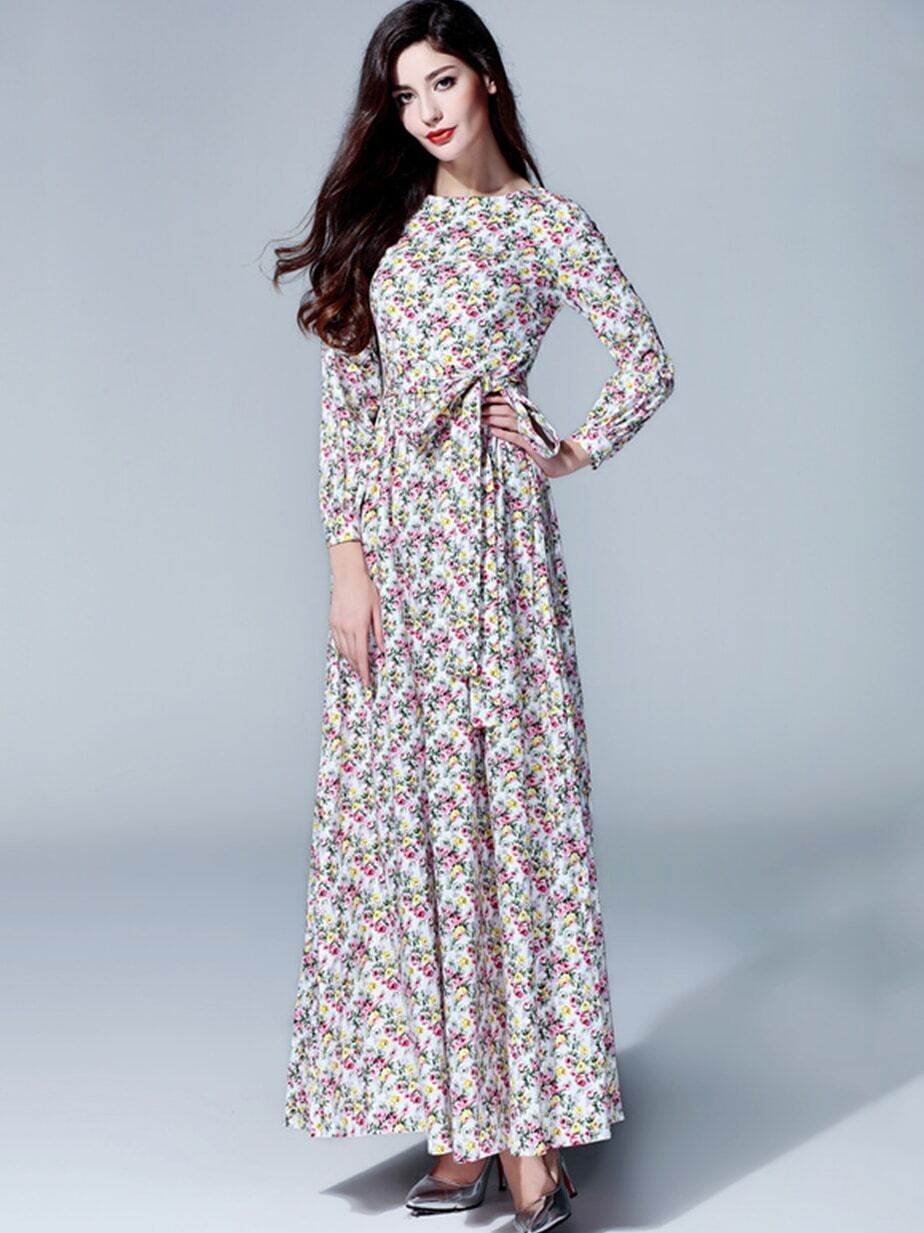 Multicolor Round Neck Long Sleeve Tie-Waist Floral Print Dress