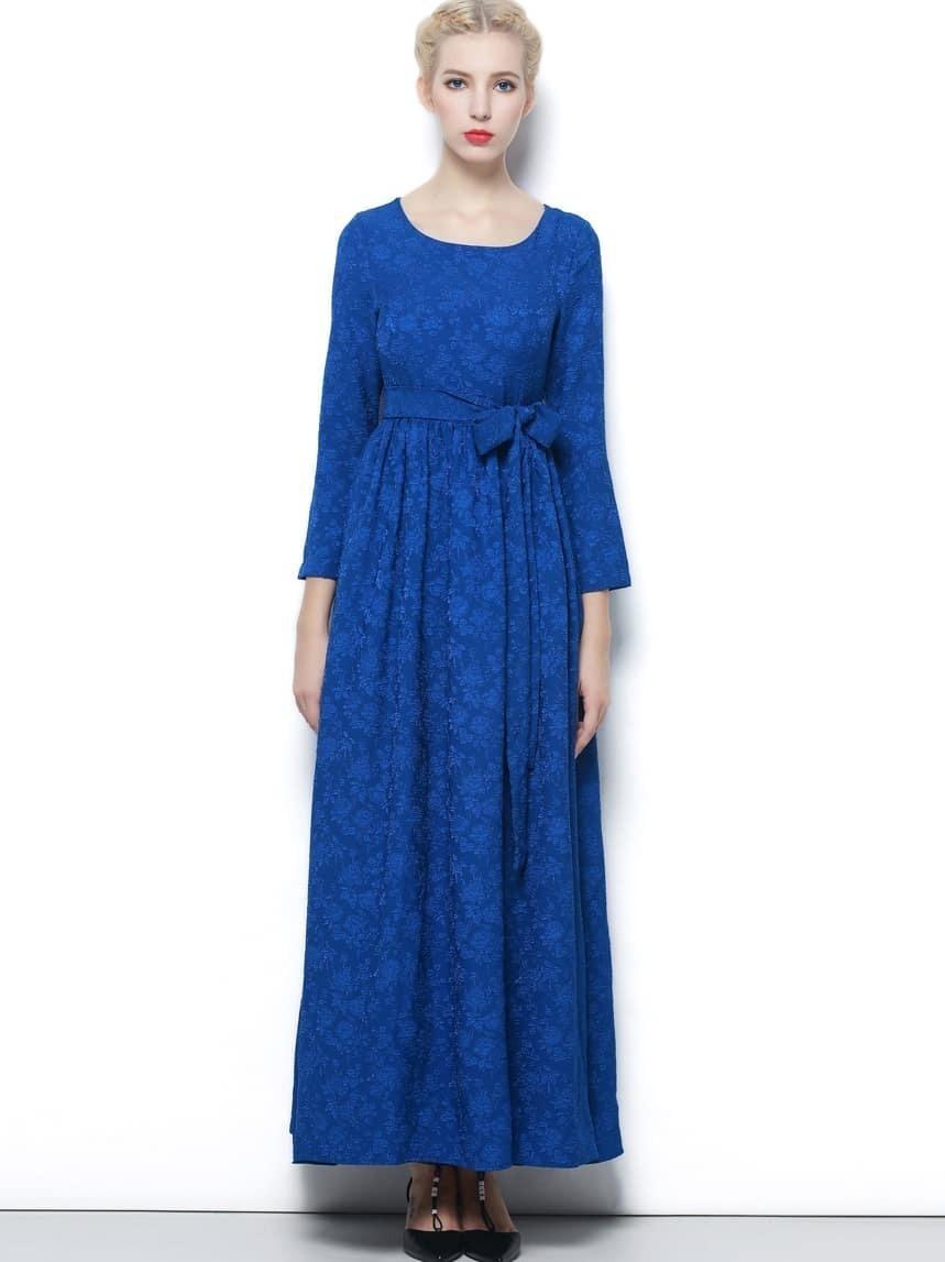 Blue Round Neck Long Sleeve Tie-Waist Dress
