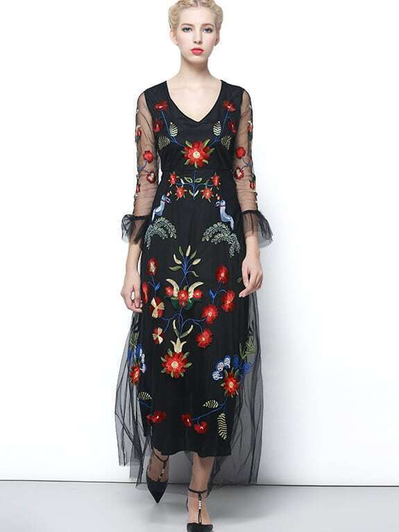 Black V Neck Long Sleeve Contrast Gauze Embroidered Dress