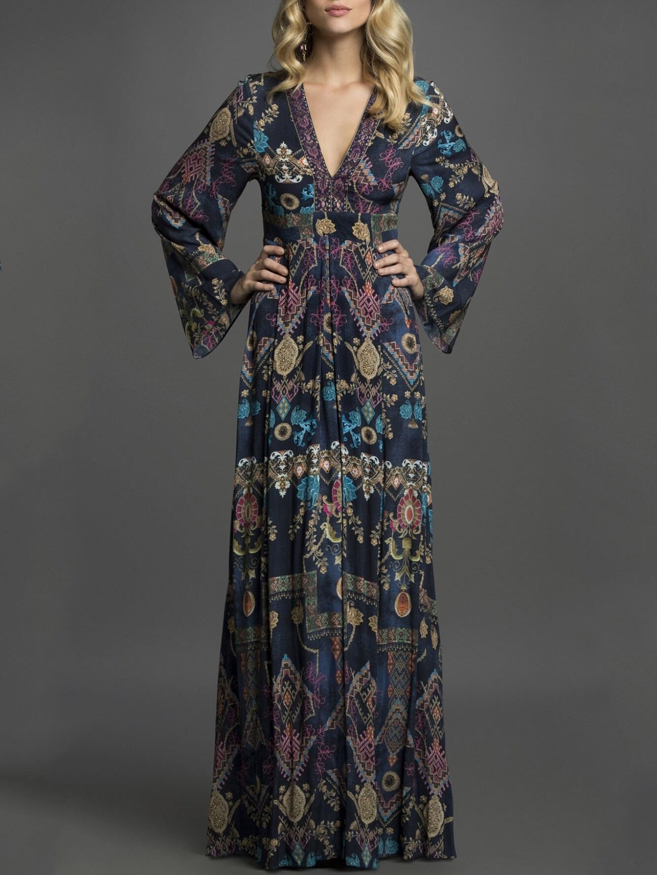 Multicolor V Neck Long Sleeve Print Dress