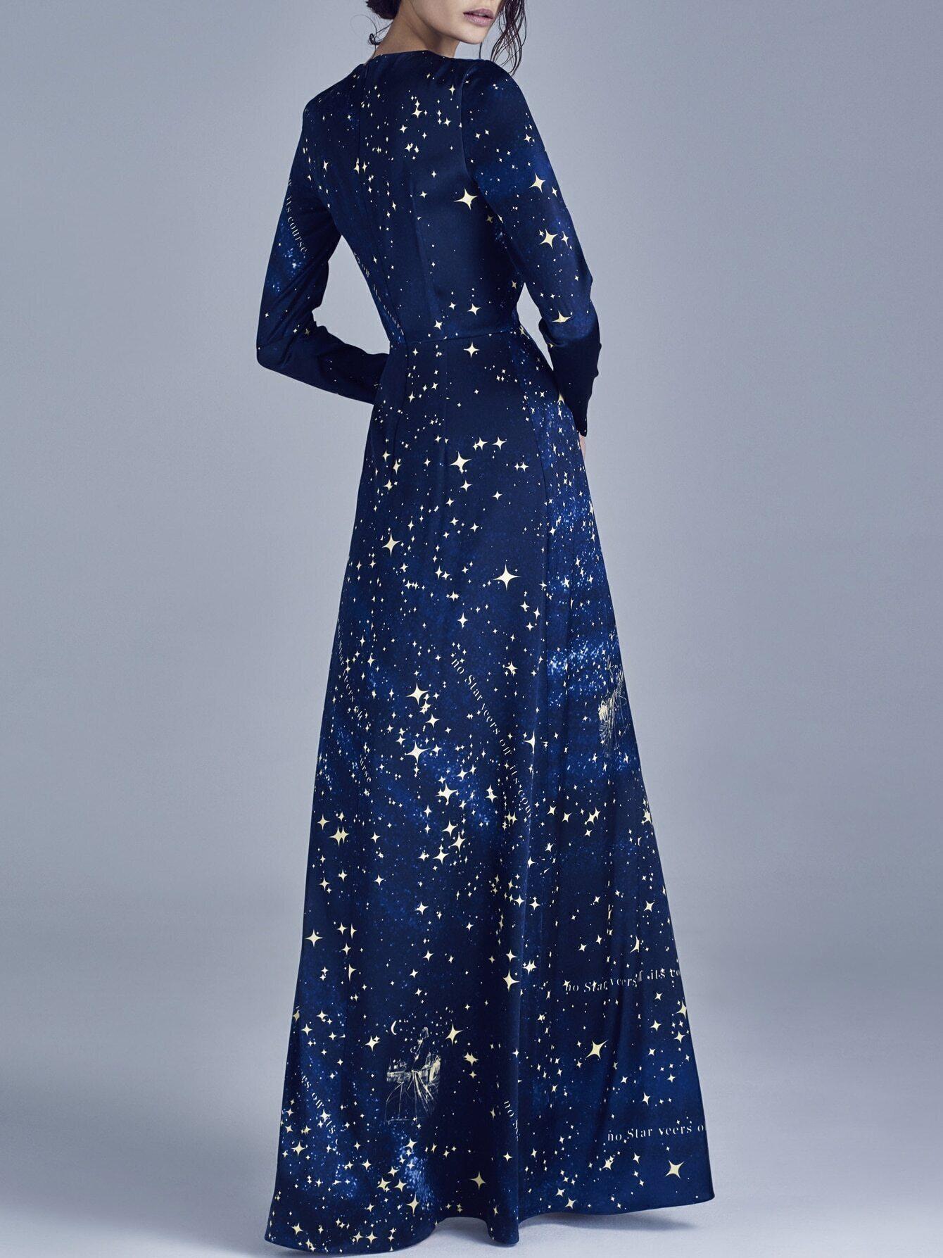 Blue Round Neck Long Sleeve Print Dress