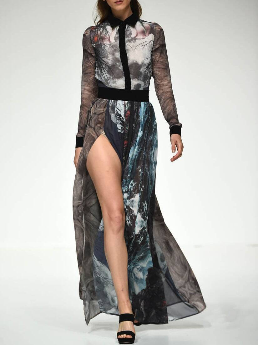 Multicolor Lapel Long Sleeve Print Dress