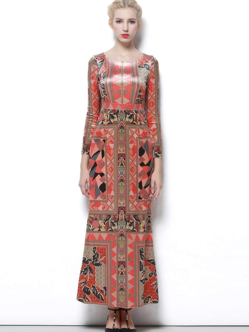 Multicolor Round Neck Long Sleeve Print Dress